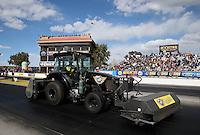 Feb. 24, 2013; Chandler, AZ, USA; NHRA safety safari tractor during the Arizona Nationals at Firebird International Raceway. Mandatory Credit: Mark J. Rebilas-