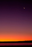 Crescent moon and sunrise, Bosque del Apache National Wildlife Refuge, Socorro, New Mexiico