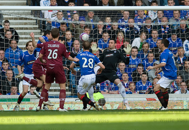 Christos Karipidis heads the first goal for Hearts past Rangers keeper Allan McGregor