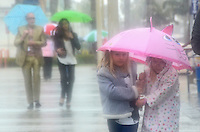 Rain in Santa Monica on Sunday, March 25, 2012.