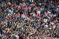 Japan supporters in the crowd celebrate at the final whistle, as South Africa fans look dejected. Rugby World Cup Pool B match between South Africa and Japan on September 19, 2015 at the Brighton Community Stadium in Brighton, England. Photo by: Patrick Khachfe / Onside Images