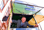 Sir Alex Ferguson in a Govan bus outside Ibrox Stadium, 2001