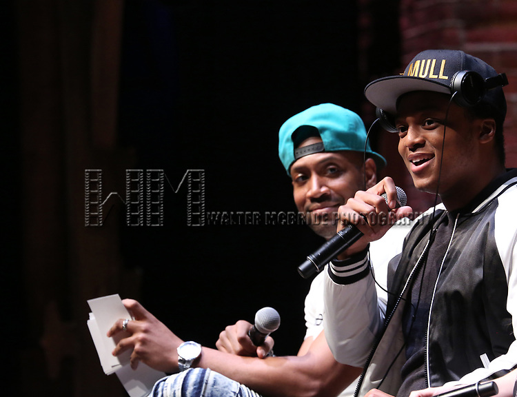 """Bryan Terrell Clark and J. Quinton Johnson from the 'Hamilton' cast during a Q & A before The Rockefeller Foundation and The Gilder Lehrman Institute of American History sponsored High School student #EduHam matinee performance of """"Hamilton"""" at the Richard Rodgers Theatre on 5/10/2017 in New York City."""