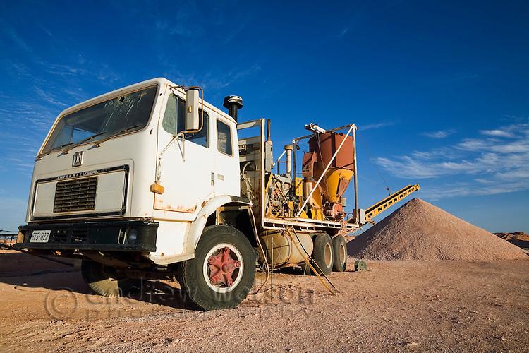 Opal mining machinery - Coober Pedy, South Australia, AUSTRALIA.