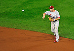 27 September 2010: Philadelphia Phillies' infielder Chase Utley in action against the Washington Nationals at Nationals Park in Washington, DC. With an 8-0 shutout win, the Philles clinched the National League Eastern Division Title. Mandatory Credit: Ed Wolfstein Photo