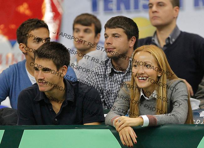 Tennis Tenis<br /> Davis Cup Final 2013<br /> Serbia v Czech Republic<br /> Dusan Lajovic v Radek Stepanek<br /> Djordje Djokovic (L) and Jelena Ristic (R)<br /> Beograd, 17.11.2013.<br /> foto: Srdjan Stevanovic/Starsportphoto &copy;