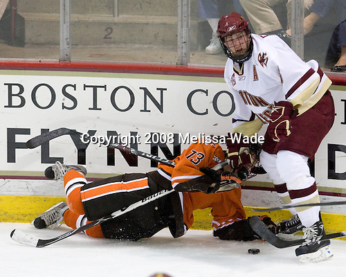 Kai Kantola (BGSU - 14), Tim Kunes (BC - 6) - The Boston College Eagles defeated the visiting Bowling Green State University Falcons 5-3 on Friday, October 17, 2008, at Kelley Rink at Conte Forum in Chestnut Hill, Massachusetts.