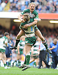 Cardiff Blues V Leicester Tigers, Heineken Cup Semi Final 2009.Jordan Crane and Scott Hamilton celebrate after knocking Cardiff Blues out of the Semi final..Cardiff 3rd Mayl 2009.© Ian Cook IJC Photography, 07599826381,  iancook@ijcphotography.co.uk, www.ijcphotography.co.uk