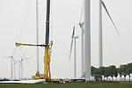 Foto: VidiPhoto<br /> <br /> LIENDEN - Langs de A15 ter hoogte van Lienden in de Betuwe zijn dinsdag de bladen van de laatste van vier door Vestas geleverde windturbines geplaatst. In de loop van volgende week komen de 90 meter hoge windmolens (met de wieken er bij gerekend 135 meter), met een gewicht van 100 ton per stuk, in bedrijf. De turbines hebben een vermogen van 2 megawatt per stuk. Eigenaar is energieleverancier Yard Energie. Tegen de komst van de beeldbepalende molens is jarenlang actie gevoerd. Op steenworp afstand in Echteld staan nog eens vier evenzo hoge windturbines. De provincie Gelderland wil de komende jaren in totaal langs de A15 tussen Lienden en Culemborg, 26 windmolens plaatsen.