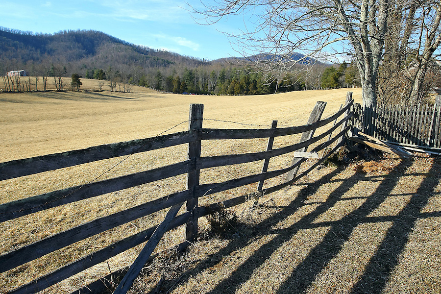 Farm fence on rural property in Madison County, VA. .