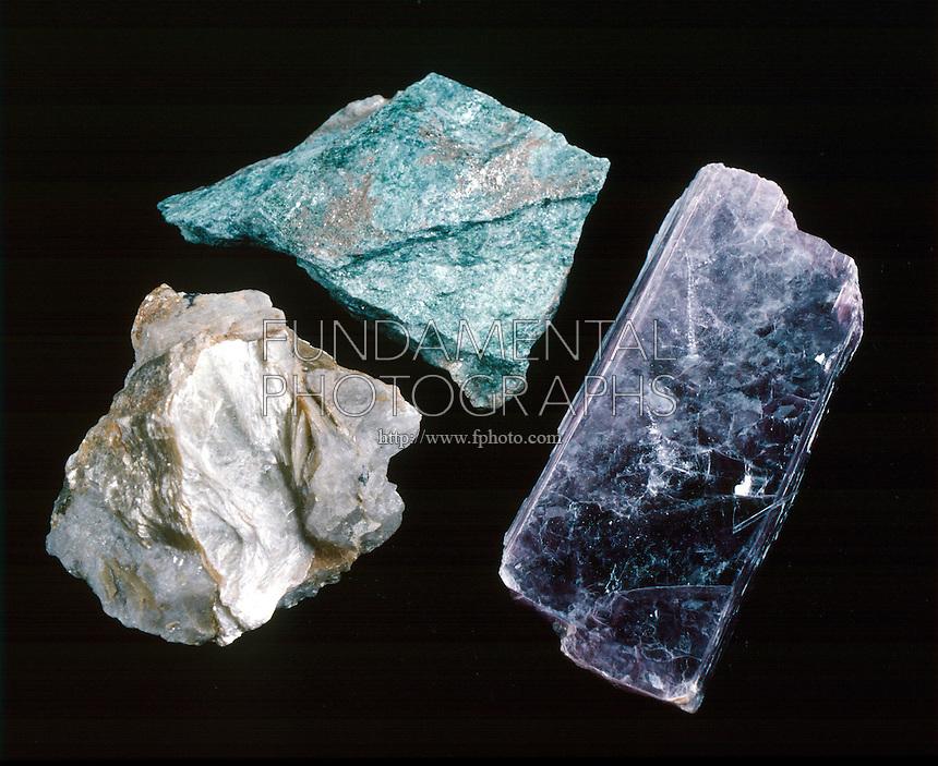 MICA SILICATE MINERALS<br /> Muscovite, Fuchsite and Lepidolite<br /> Left: Muscovite,KAl3Si3O10(OH)2, basic potassium aluminum silicate.Monoclinic,prismatic.<br /> Center:Fuchsite, muscovite w/Cr substituted.<br /> Right: Lepidolite K2Li3Al4Si7O21(OH/F)3, Monoclinic, domatic, basic fluorosilicates of lithium &amp; potassium &amp; aluminum.