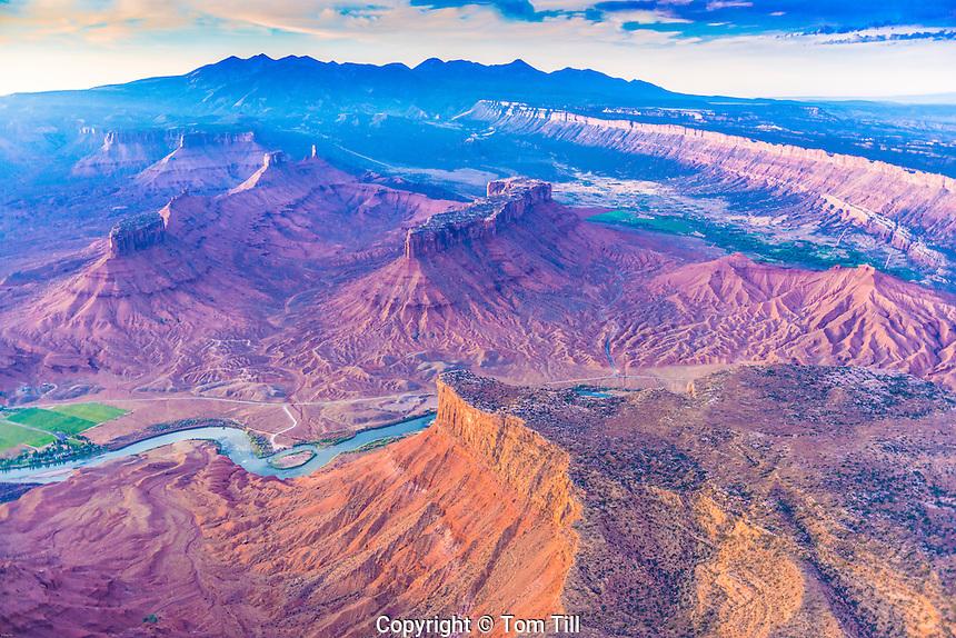 Colorado River flows through Richardson Amphitheater, near Castle Valley and Moab. Utah