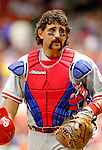 11 June 2006: Sal Fasano, catcher for the Philadelphia Phillies, looks toward the mound during a game against the Washington Nationals at RFK Stadium, in Washington, DC. The Nationals shut out the visiting Phillies 6-0 to take the series three games to one...Mandatory Photo Credit: Ed Wolfstein Photo..
