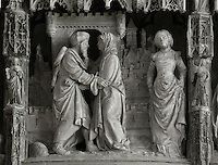 Joachim and Anne meeting at the Golden Gate in Jerusalem, by Jean Soulas, upper scene from the choir screen, 1519-25, Chartres Cathedral, Eure-et-Loir, France. These sculpted scenes show the change in style from Gothic to Renaissance in the early 16th century in France. Chartres cathedral was built 1194-1250 and is a fine example of Gothic architecture. It was declared a UNESCO World Heritage Site in 1979. Picture by Manuel Cohen.