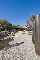Stark desert landscaping with exotic art objects