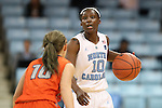 02 November 2016: North Carolina's Jamie Cherry (right) and Carson-Newman's Haris Price (left). The University of North Carolina Tar Heels hosted the Carson-Newman University Lady Eagles at Carmichael Arena in Chapel Hill, North Carolina in a 2016-17 NCAA Women's Basketball exhibition game. UNC won the game 96-70.