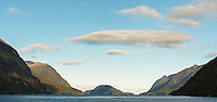 Doubtful Sound with Bauza Island in centre, Fiordland National Park, UNESCO World Heritage Area, Southland, New Zealand, NZ
