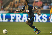 Amobi Okugo of the Philadelphia Union during a match between Aston Villa FC and Philadelphia Union at PPL Park in Chester, Pennsylvania, USA on Wednesday July 18, 2012. (photo - Mat Boyle)