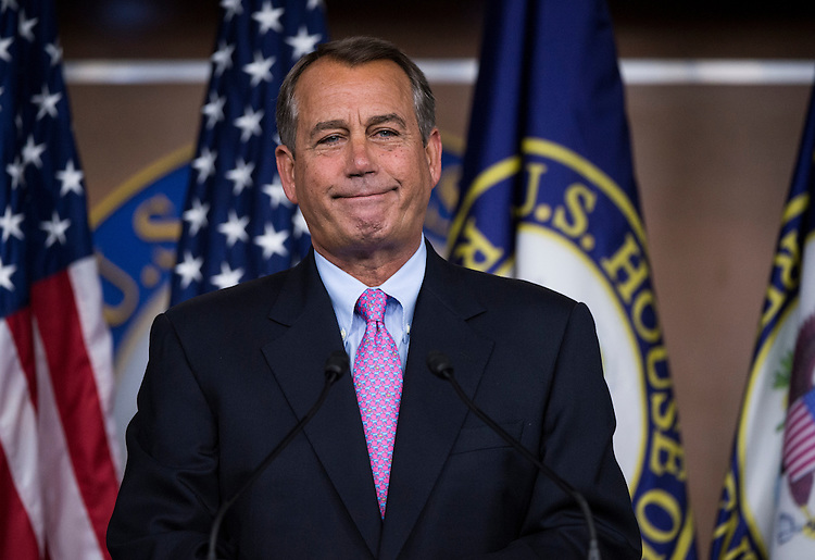 UNITED STATES - JULY 19: Speaker of the House John Boehner, R-Ohio, holds his weekly press conference in the Capitol on Thursday, July 19, 2012. (Photo By Bill Clark/CQ Roll Call)