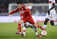 FUSSBALL   1. BUNDESLIGA  SAISON 2012/2013   19. Spieltag   VfB Stuttgart  - FC Bayern Muenchen      27.01.2013 Franck Ribery (li, FC Bayern Muenchen) gegen Ibrahima Traore (VfB Stuttgart)