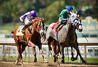 I'll Have Another, with jockey Mario Gutierrez  aboard (left) defeats Creative Cause with Joel Rosario (center) and Blueskiesandrainbows and Joe Talamo (right) to win the 2012 Santa Anita Derby at Santa Anita Park in Arcadia California on April 7, 2012.