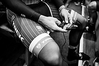 Fabio Felline (ITA/Trek-Segafredo) checking his race radio ahead of the race<br /> <br /> 103rd Li&egrave;ge-Bastogne-Li&egrave;ge 2017 (1.UWT)<br /> One Day Race: Li&egrave;ge &rsaquo; Ans (258km)