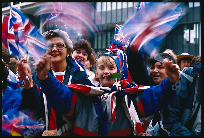 Spectators at the wedding of Prince Andrew to Sarah Ferguson. London, England, July 23, 1986.