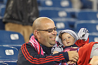 Foxborough, Massachusetts - October 4, 2014: In a Major League Soccer (MLS) match, the New England Revolution (blue/white) defeated Columbus Crew (yellow), 2-1, at Gillette Stadium.