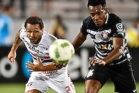 Orlando, FL - Saturday Jan. 21, 2017: São Paulo forward W. Nem (21) and Corinthians left back Moisés (6) chase after a ball during the first half of the Florida Cup Championship match between São Paulo and Corinthians at Bright House Networks Stadium.