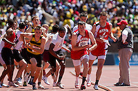 Pat Kwiatkowski of Archbishop Ryan, Corey Brown of Cardinal O'Hara, and John Robb of Archbishop Wood all receive the baton in the High School Boys' 4x400 Philadelphia Catholic on April 24 at the Penn Relays. O'Hara took first in 3:19.35, with Ryan in second at 3:26.72. Wood finished fifth in 3:28.69.