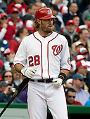 Washington Nationals right fielder Jayson Werth (28) bats in the fourth inning against the Cincinnati Reds at Nationals Park in Washington, D.C. on Thursday, April 12, 2012.  The Nationals won the game in 10 innings 3 - 2..Credit: Ron Sachs / CNP