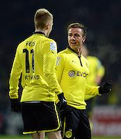 FUSSBALL   1. BUNDESLIGA   SAISON 2012/2013    18. SPIELTAG SV Werder Bremen - Borussia Dortmund                   19.01.2013 Torjubel nach dem 2:0: Marco Reus (li) und Mario Goetze (re, beide Borussia Dortmund)