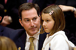 HARTFORD, CT- 07 JANUARY 2008 --010709JS02-Rep. John B. Rigby, R-Colebrook, talks with his daugher Soren Rigby, 8, prior to being sworn-in during the opening day of the general assembly Wednesday at the state Capitol in Hartford. <br /> Jim Shannon / Republican-American