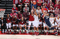 Stanford, CA -- November 17, 2014:  Stanford Cardinal vs. Connecticut Huskies at Maples Pavilion.  The Cardinal defeated the Huskies in overtime, 88-86. Amber Orrange makes a three-pointer with seconds left to bring the game to overtime.