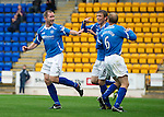 St Johnstone v Livingston...24.08.11   Scottish Communities League Cup Round 2.Murray Davidson celebrates his goal with Frazer Wright and Steven Anderson.Picture by Graeme Hart..Copyright Perthshire Picture Agency.Tel: 01738 623350  Mobile: 07990 594431