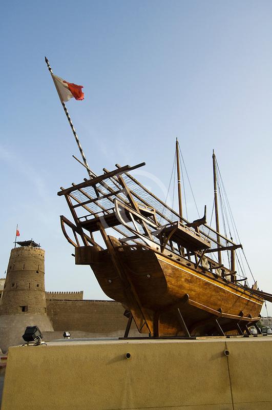 United Arab Emirates, Dubai, Dubai Fort and Museum, traditional Arab dhow sailing ship