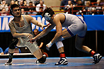 LA CROSSE, WI - MARCH 11: Jay Albis of Johnson & Wales avoids Nathan Pike of NYU in the 133 weight class during NCAA Division III Men's Wrestling Championship held at the La Crosse Center on March 11, 2017 in La Crosse, Wisconsin. Pike beat Albis with a fall to win the National Championship. (Photo by Carlos Gonzalez/NCAA Photos via Getty Images)