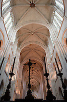 OISE, FRANCE - OCTOBER 26: Low angle view of the nave from the choir of the Cathedral Notre-Dame de Senlis on October 26, 2008 in Oise, France. The cathedral was built between 1153 and 1191. (Photo by Manuel Cohen)