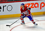21 September 2009: Montreal Canadiens' defenseman Mathieu Carle starts a rush during a pre-season game against the Pittsburgh Penguins at the Bell Centre in Montreal, Quebec, Canada. The Canadiens edged out the defending Stanley Cup Champions 4-3. Mandatory Credit: Ed Wolfstein Photo