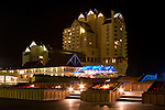 The Coeur D Alene Resort on Lake Coeur D Alene at night. Coeur D Alene, Idaho, USA