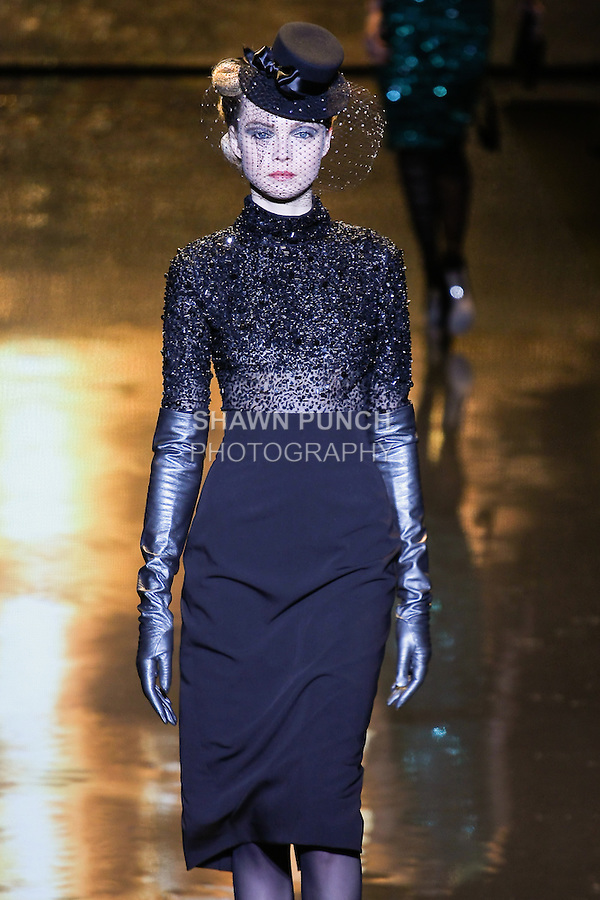 Siri Toller&oslash;d walks runway in a Jet net top, and black stretch tuxed twill skirt, from the Badgley Mischka Fall 2011 fashion show, during Mercedes-Benz Fashion Week Fall 2011.