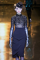 Siri Tollerød walks runway in a Jet net top, and black stretch tuxed twill skirt, from the Badgley Mischka Fall 2011 fashion show, during Mercedes-Benz Fashion Week Fall 2011.