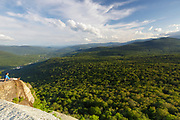 Franconia Notch State Park - Scenic view from the summit of Mount Pemigewasset in Lincoln, New Hampshire USA during the summer months.