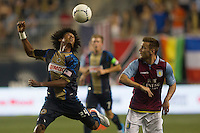 Porfirio Lopez of the Philadelphia Union and Andreas Weimann of Aston Villa during a match between Aston Villa FC and Philadelphia Union at PPL Park in Chester, Pennsylvania, USA on Wednesday July 18, 2012. (photo - Mat Boyle)