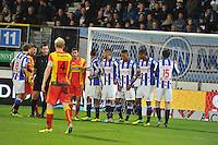 VOETBAL: ABE LENSTRA STADION: HEERENVEEN: 30-11-2013, SC Heerenveen - Go Ahead Eagles, uitslag 3-1, muurtje SC Heerenveen, ©foto Martin de Jong