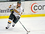 20 February 2009: University of Vermont Catamount defenseman Dan Lawson, a Sophomore from Oak Forest, IL, in action against the University of Massachusetts River Hawks during the first game of a weekend series at Gutterson Fieldhouse in Burlington, Vermont. The teams battled to a 3-3 tie. Mandatory Photo Credit: Ed Wolfstein Photo