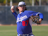 MARYVALE - March 2015: Ralston Cash (87) of the Los Angeles Dodgers during a spring training game against the Milwaukee Brewers on March 24th, 2015 at Maryvale Baseball Park in Maryvale, Arizona. (Photo Credit: Brad Krause)