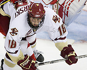Kyle Kucharski (Boston College - 18) - The Boston College Eagles defeated the University of Wisconsin Badgers 5-4 on Friday, October 10, 2008 after raising their 2008 National Championship banner at Kelley Rink in Conte Forum in Chestnut Hill, Massachusetts.