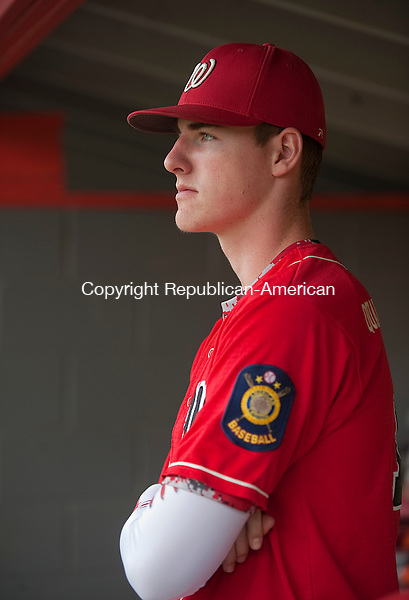 SOUTHBURY, CT--- -062015JS17 --Waterbury Post  #1's Shea Dooley (18) watches the game during their Zone 5 American Legion win over Oakville Post 195 Saturday at Pomperaug High School in Southbury.<br />  Jim Shannon Republican-American