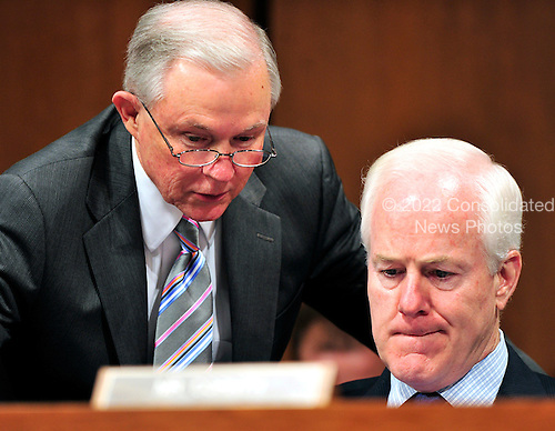 United States Senators Jeff Sessions (Republican of Alabama), left, and John Cornyn (Republican of Texas) discuss the testimony of U.S. Solicitor General Elena Kagan at her confirmation hearing as Associate Justice of the United States Supreme Court before the U.S. Senate Judiciary Committee in Washington, D.C. on Tuesday, June 29, 2010..Credit: Ron Sachs / CNP